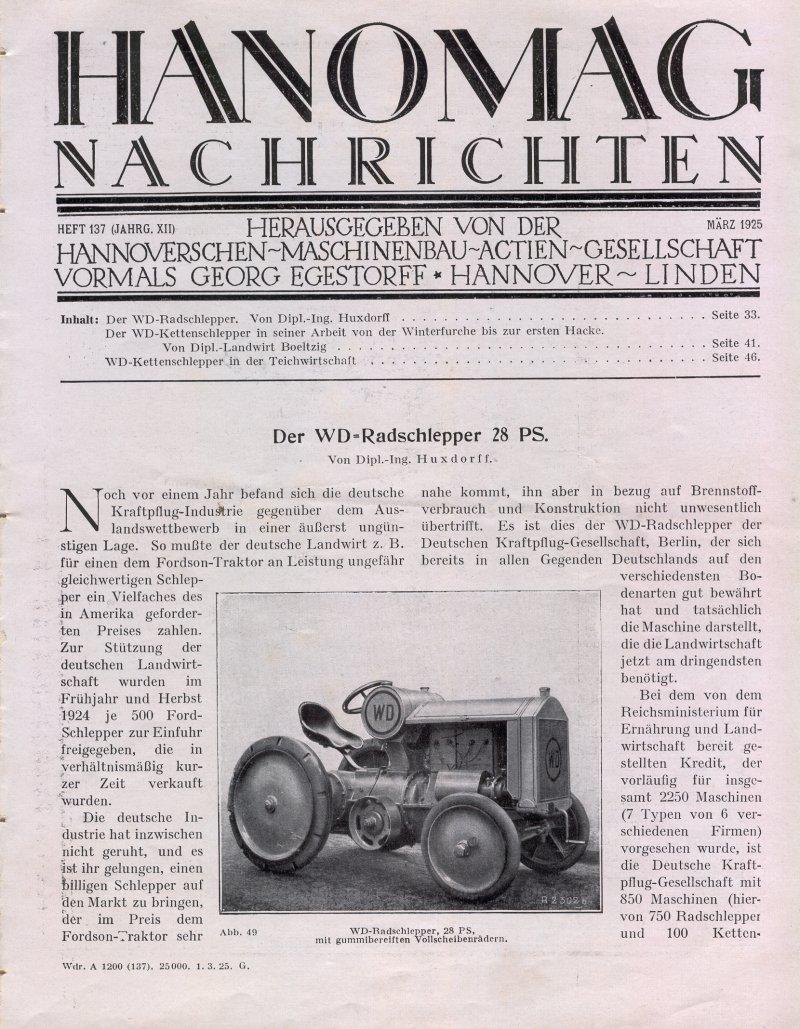 Hanomag nachrichten märz 1925
